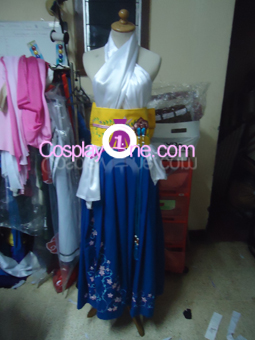 Summoner Yuna from Final Fantasy X Cosplay Costume front prog