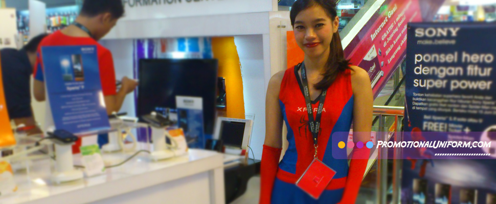 Promotional Uniform  Girl Red and Blue Sony Mobile