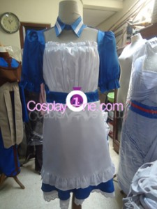 Maid Blue Cosplay Costume front prog